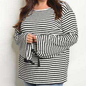 PLUS! Black & White Stripe Knit! Size 1X, 2X & 3X